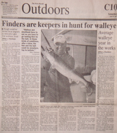 Scan of News-Herald article - Finders are keepers in hunt for walleye