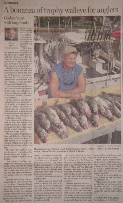 Scan of Cleveland Plain Dealer article - A bonanza of trophy walleye for anglers